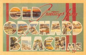 Old Orchard Beach Maine Greetings From large letter linen antique pc Z20787