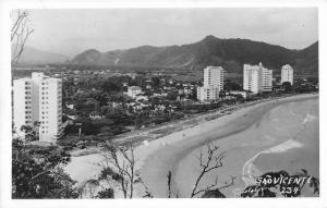 Real Photo Saovicente Brazial Coastline along the Beach Antique Postcard (L7)