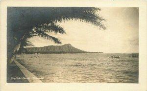 Honolulu Hawaii Waikiki Beach 1920s RPPC Photo Postcard 20-896