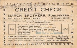 Lebanon Ohio~March Brothers Educational Publ~Wright Avenue~Credit Check Postcard