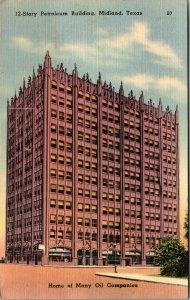Midland, Texas Postcard MIDLAND TOWER Building Street oil Curteich Linen c1940s