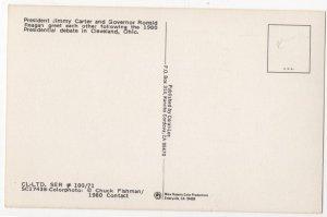 HP82221 Vintage Political Postcard President Carter and Reagan Post-Debate 1980