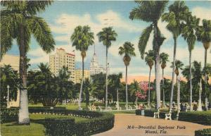 Miami Florida~Bayfront Park~1953 Postcard