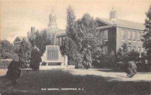 Haddonfield New Jersey~War Memorial~Buildings in Background~1940s B&W Postcard