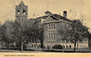 Emmetsburg Iowa~High School~Kids Outside~Boys on Corner~Open Belfry~1912 PC