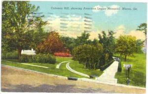Coleman Hill, Showing American Legion Memorial, Macon, Georgia, GA, 1943 Linen