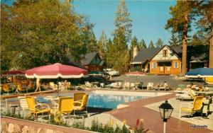 1950s Big Bear California Ambassador Lodge pool Crocker postcard 8875