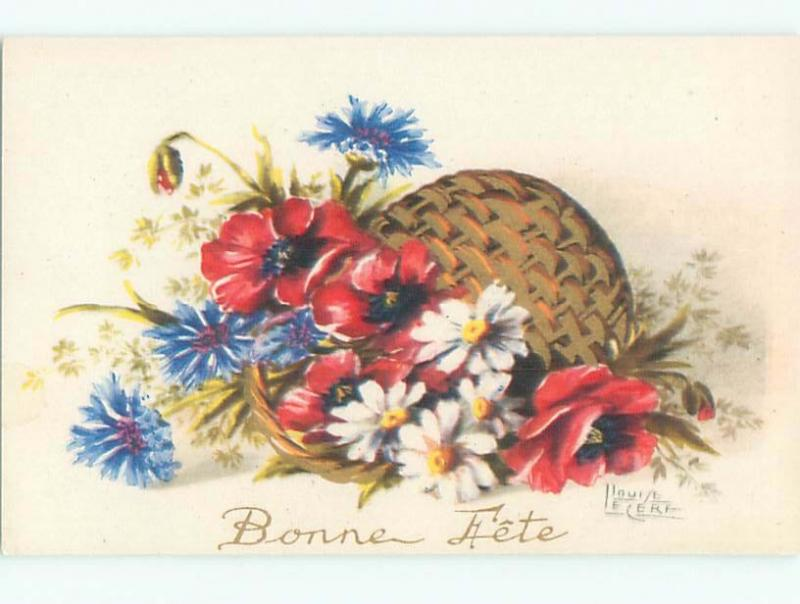 Very Old Foreign Postcard BEAUTIFUL FLOWERS SCENE AA4250