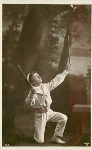 Boy playing Diablo Game 1909 RPPC Photo Postcard 3351