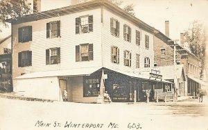 Winterport ME Main Street Barber Shop 5 & 10¢ Groceries Store Fronts 1918 RPPC