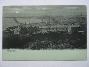 Cornwall PENZANCE Sunset shows Railway Station c1902 UB Postcard