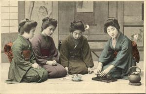 japan, Four Beautiful GEISHA Girls in Kimono, Tea Ceremony (1910s)