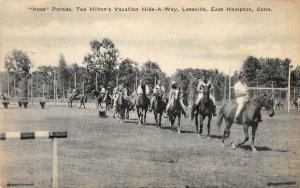 Horse Parade Ted Hilton Vacation Hide-A-Way Leesville East Hampton 1942 Postcard