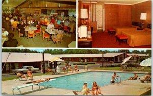 Rocky Mount, NC Postcard Quality Courts MOTEL CORAL Pool Scene c1960s Unused