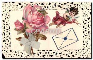 Old Postcard Angel Fancy Embroidery Flowers