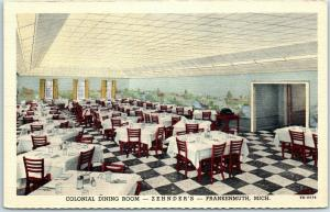 Frankenmuth, Michigan Postcard ZEHNDER'S RESTAURANT Interior View Linen c1940s