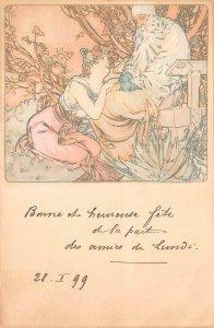4 SEASONS WINTER BEAUTIFUL WOMAN ART NOUVEAU MUCHA ARTIST SIGNED POSTCARD 1899