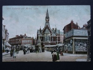 Bedfordshire LUTON Corn Exchange & Market & showing BOOTS CHEMIST c1907 Postcard