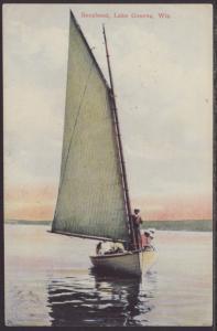 Sailboat,Lake Geneva,WI Postcard