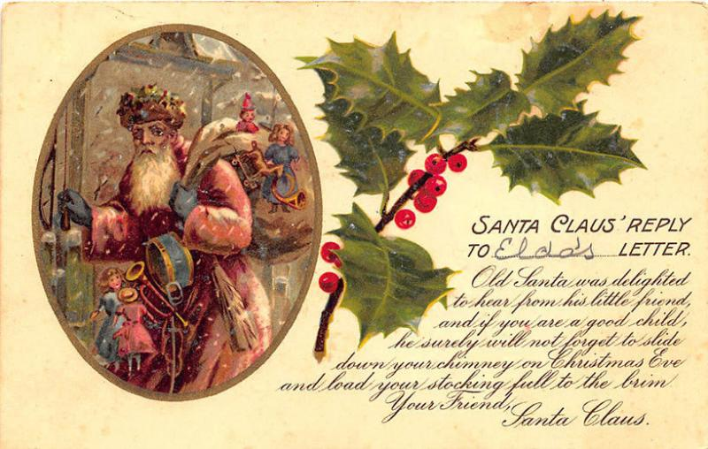 Christmas Red Suited Santa Claus Reply Letter 1905 Postcard