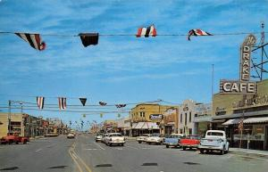 Hobbs New Mexico~Broadway Street~Art Deco Drake Cafe~Barber Shop~1950s Cars