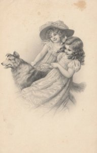 AS; M.M. VIENNE; Two young girls walking dog, 1900-10s