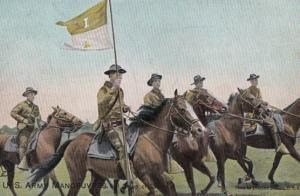 US Army Manouvers HS CAVALRY SOLDIERS ADDRESS Antique Military 1911 Old Postcard