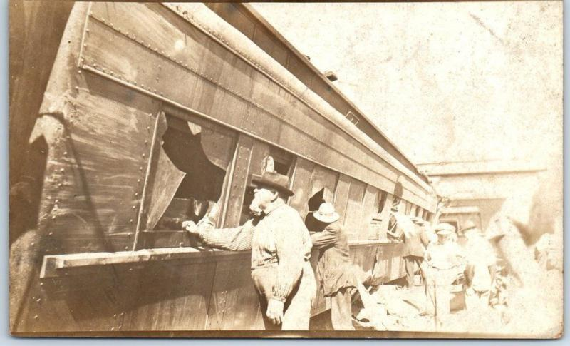 1910s TRAIN WRECK Real Photo RPPC Postcard Passenger Car & Rescue Workers Unused