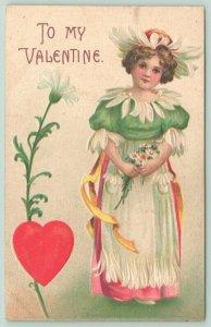 Clapsaddle Valentine~Daisy Girl~Petals Around Hat & Apron~Green Blouse~Bouquet