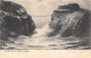 N. Ireland Rough Sea at Carrick-a-Rede, suspension rope bridge, Signed