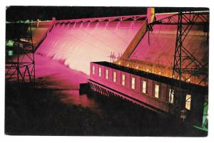 WA Grand Coulee Dam Night Columbia River Vtg Postcard