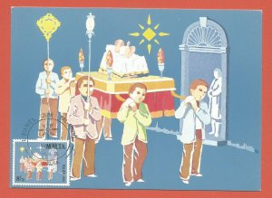 MAXI CARD – MALTA - 1981 – CHRISTMAS PROCESSION