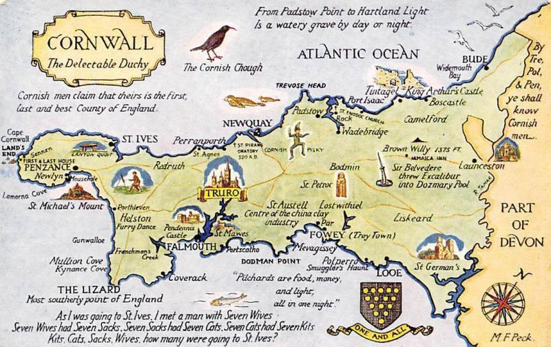 Cornwall Map, The Delectable Duchy, One and All Coat of Arms Water Colour