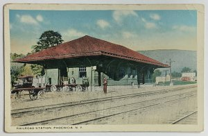 Old Divided Back Era Litho Postcard Railroad Station, Phoenicia, New York Unused