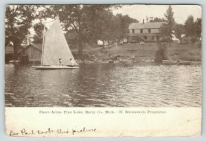 Barry County Michigan~Shore Acres Hotel~Fine Lake~Sailboat~Brininstool Prop~1907