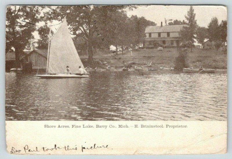 Barry County Michigan~Shore Acres Hotel~Fine Lake~Sailboat~Brininstool Prop~1907
