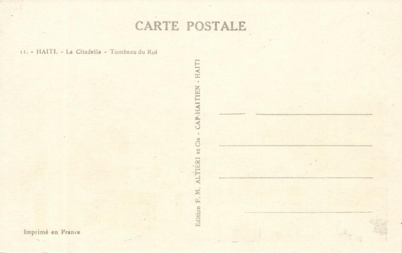 haiti, La Citadelle, Tombeau du Roi (1940s) Postcard