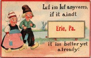 Postcard PA Erie Humour Dutch Children Wearing Clogs Sign Post Series C.1910 M12