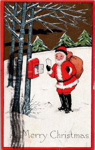 Santa a woodland mailbox arts and crafts Christmas postcard c1915 vintage
