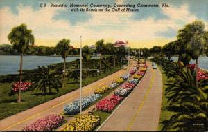 Florida Clearwater Memorial Causeway 1956 Curteich