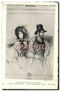 Old Postcard Costume Twelve months of spring & # 39annee Toilets Gavarni 1834