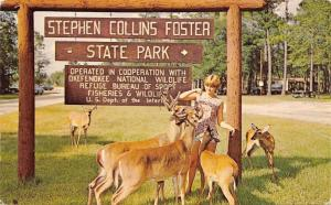 Fargo Georgia~Stephen Collins Foster State Park~Lady Feeds Deer 1950s Postcard