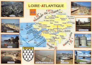 Postcard Map & Multiview Brittany, Bretagne, Loire Atlantique, France B71