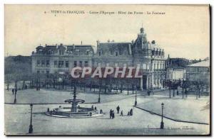 Old Postcard Vitry le Francois Bank Caisse d & # 39Epargne Post Hotel Fountain