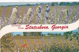 Georgia Greetings From Statesboro Picking Cotton & Cotton Field Black Americana