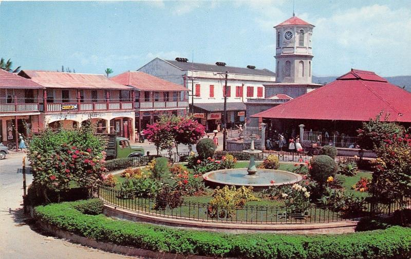 Falmouth Jamaica~The Square~Shops-Pavilion Around Large Fountain~1950s Postcard