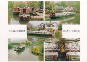 Guildford Surrey Boat House Floating Restaurant Advertising Postcard