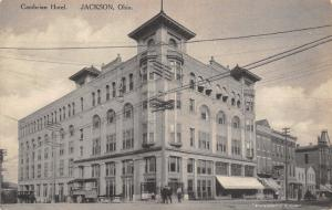 Jackson OH Italianate Cupola & Bay Windows in Corner~Cambrian Hotel 1908 B&W PC