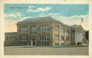 Flag 1920s Monroe School Phoenix Arizona Postcard Kress 3377