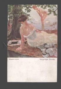 093491 Semi-NUDE Woman as Fairy in Water by CUCUEL Vintage PC